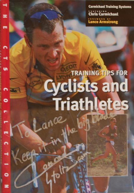 Conrad Stoltz book signed for Lance Armstrong