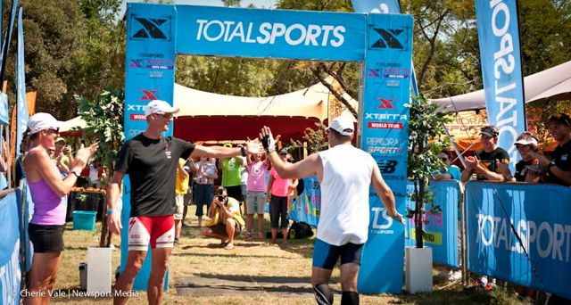 Conrad Stoltz Liezel Stoltz welcomes the last XTERRA finisher