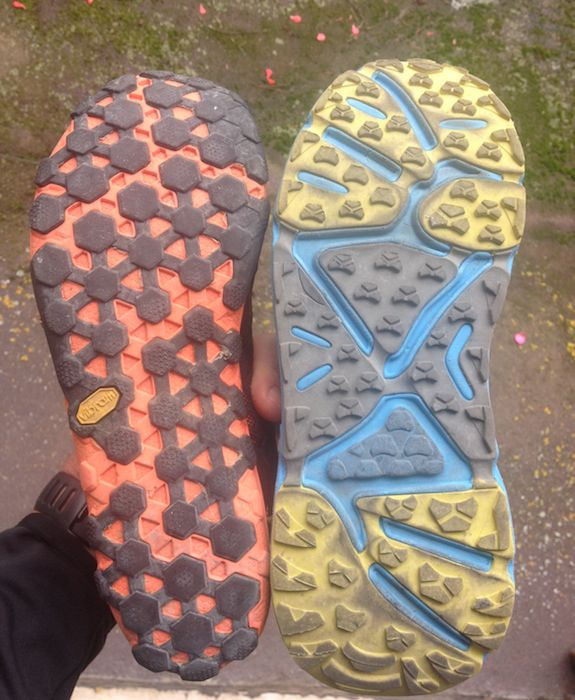 Conrad Stoltz Hoka One One Stinson sole vs New Balance Minimus sole