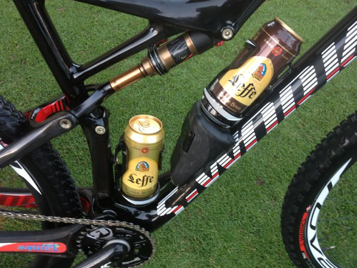 Conrad Stoltz Specialized Epic World Cup mini bar stocked with Leffe