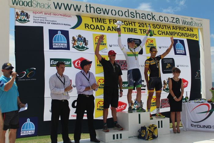Conrad Stoltz Caveman SA Time Trial Champs 2014 Specialized Shiv, McLaren, Rotor XQL, Squirt lube, Suunto, Daryl Impey, Jay Thompson podium