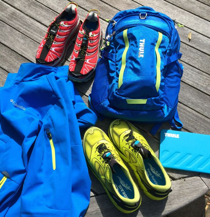 Conrad Stoltz, Hoka One One Conquest Stinson, Thule backpack, Thule ipad mini, Columbia rain jacket