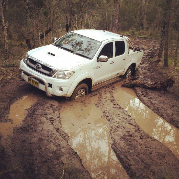 Conrad Stoltz Caveman XTERRA Asia Pacific Champs Australia Toyota Hilux stuck in mud