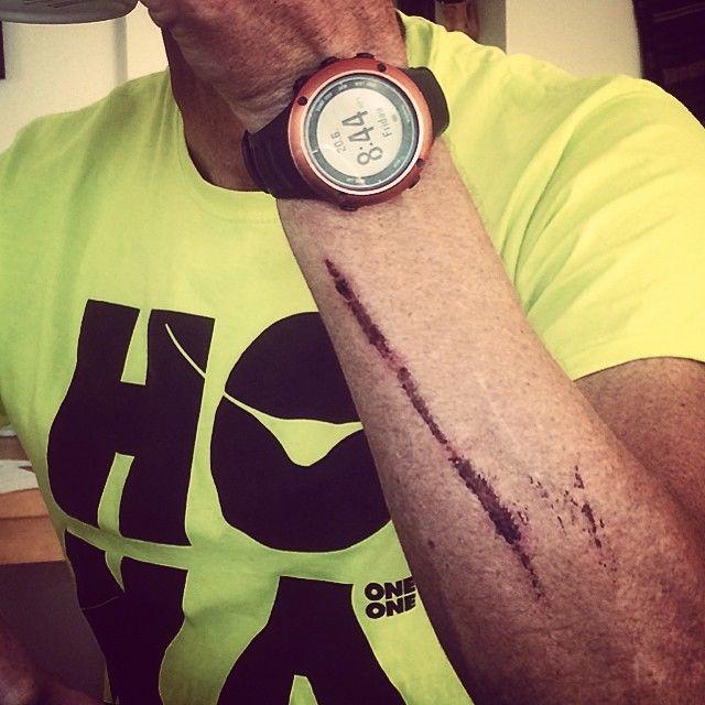 Conrad Stoltz Caveman crash site Suunto Ambit2S Hoka One One