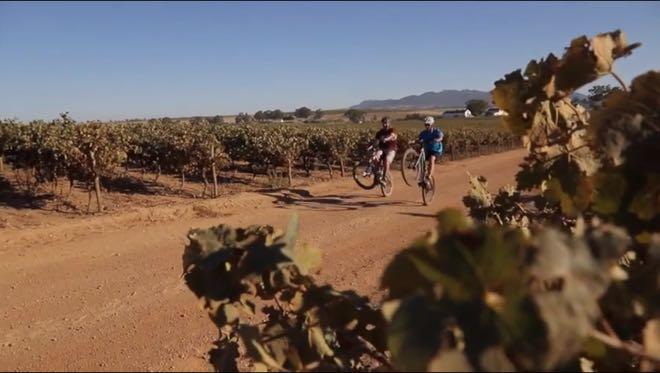 Conrad Stoltz Caveman, Meurant Botha, Perdeberg winery MTB dualling wheelie