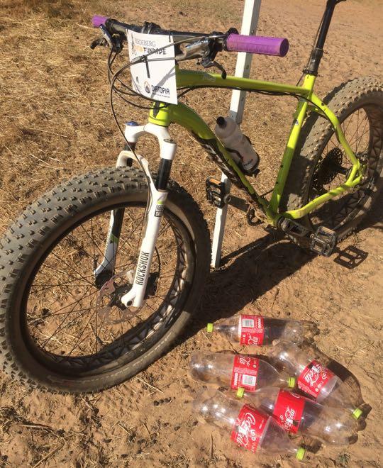 Conrad Stoltz Caveman Fatboy Fatbike tire change with 2L Coke bottles Specialized