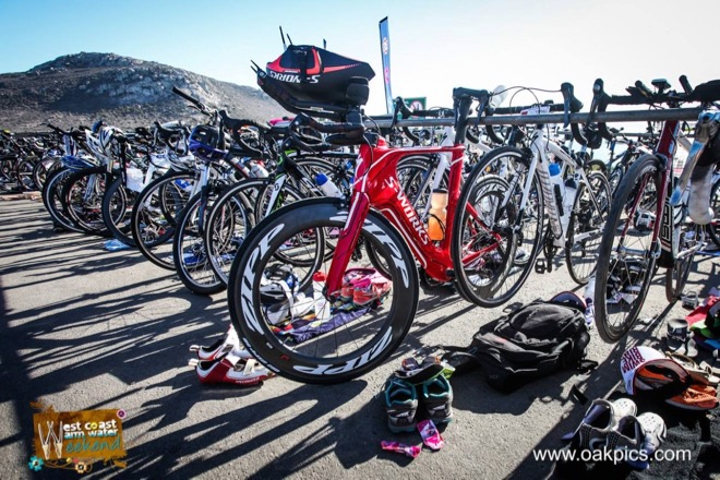 Conrad Stoltz Caveman Westcoast Warm Water Weekend Triathlon Specialized Shiv, Sworks McLaren TT helmet, Squirt lube, Suunto Ambit3, Oakley, LOOK pedals, Langebaan lagoon T1, Altra Running Lone Peak 2.5, ClifBar