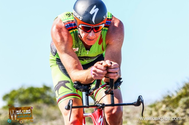 Conrad Stoltz Caveman Westcoast Warm Water Weekend Triathlon Specialized Shiv, Sworks McLaren TT helmet, Squirt lube, Suunto Ambit3, Oakley Jaw, LOOK pedals, Langebaan lagoon